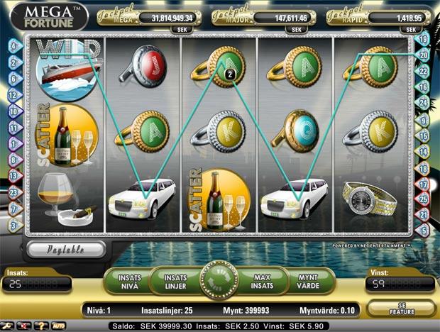 Layouten i slots spelet Mega Fortune